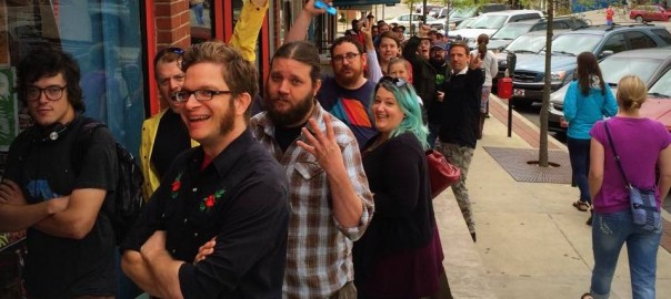 Line out the door at Block Street Records