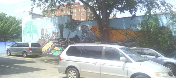 Our Travel Minivan outside of Cosmic Cafe in Dallas.